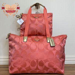 🧡Coach Signature Nylon Bag & Snap Pouch🧡